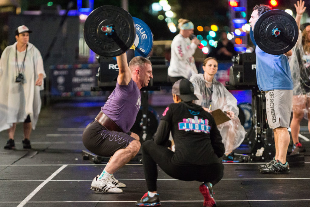 masters athlete eddie simpsom competing in crossfit event the wodapalooza